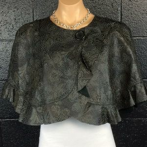 Beautiful Leather Printed Poncho Jacket